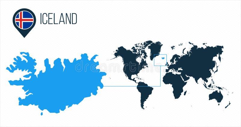 Mapa de Islandia situado en un mapa del mundo con la bandera e indicador o perno del mapa Mapa de Infographic Ejemplo del vector  ilustración del vector