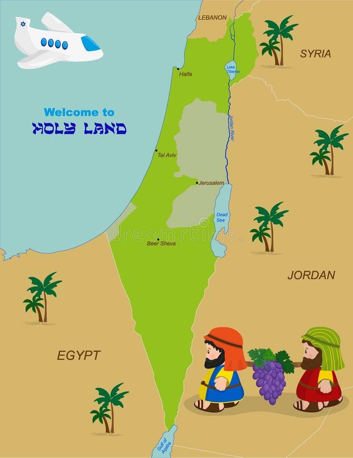 Mapa de Israel com dois espiões ilustração do vetor