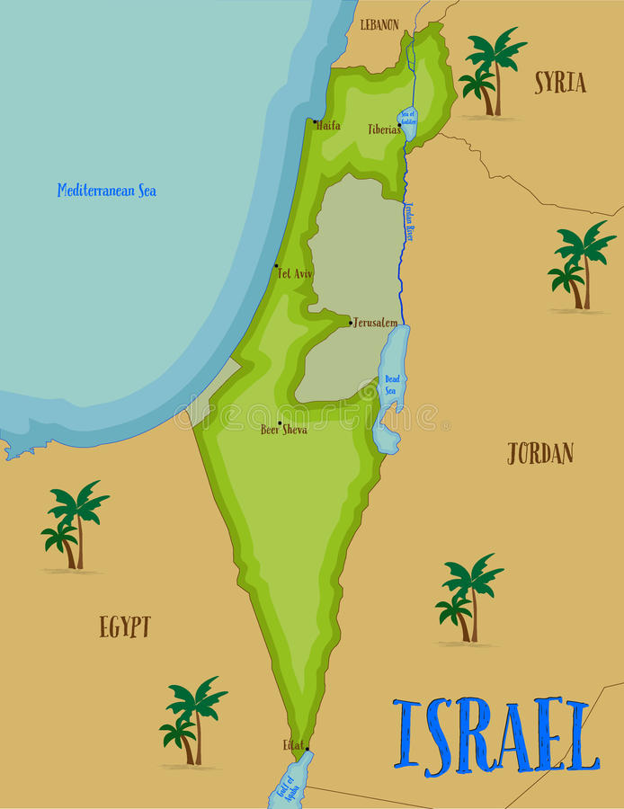 Mapa de Israel en estilo de la historieta stock de ilustración