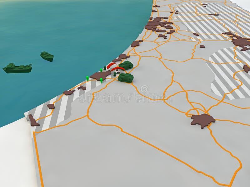 Mapa de Israel, invasión de la Franja de Gaza  ilustración del vector