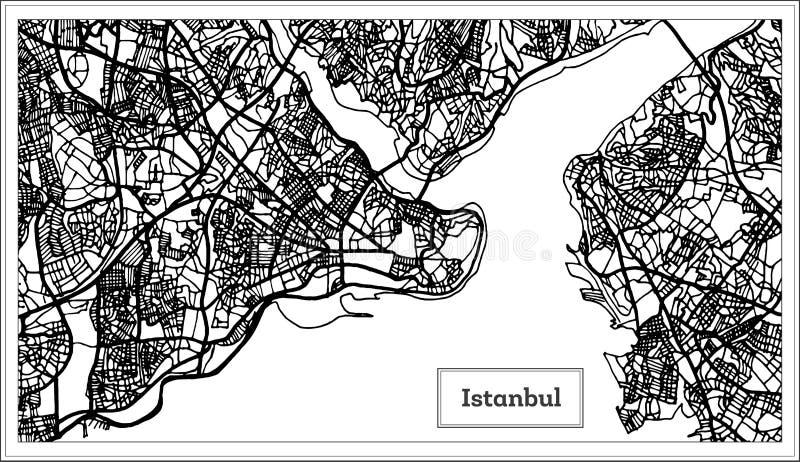Mapa de Istambul Turquia na cor preto e branco ilustração do vetor