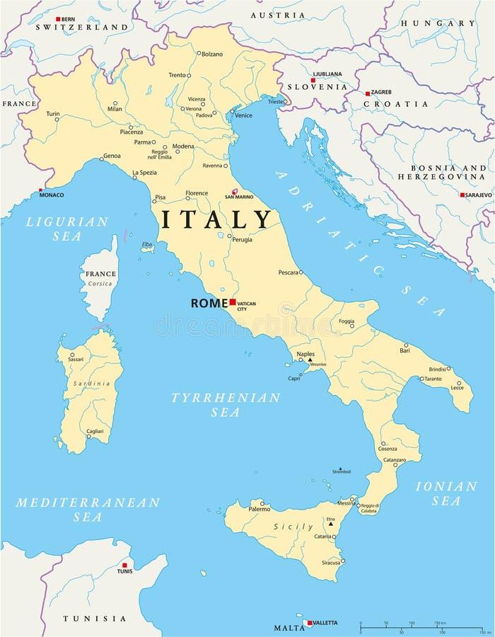 Mapa de Itália ilustração stock