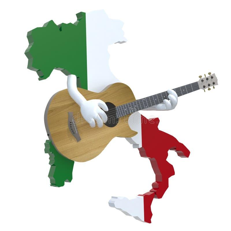 Mapa de Itália com braços que jogam a guitarra ilustração do vetor