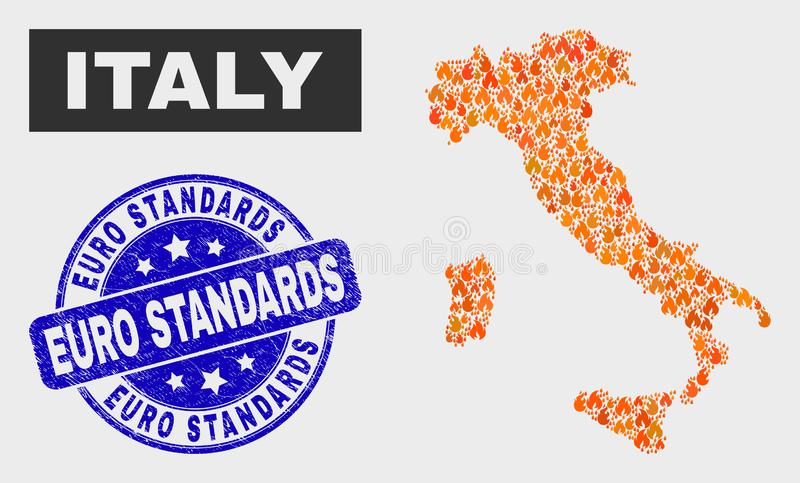 Mapa de Itália do mosaico da chama e selo dos padrões do Euro do Grunge ilustração royalty free