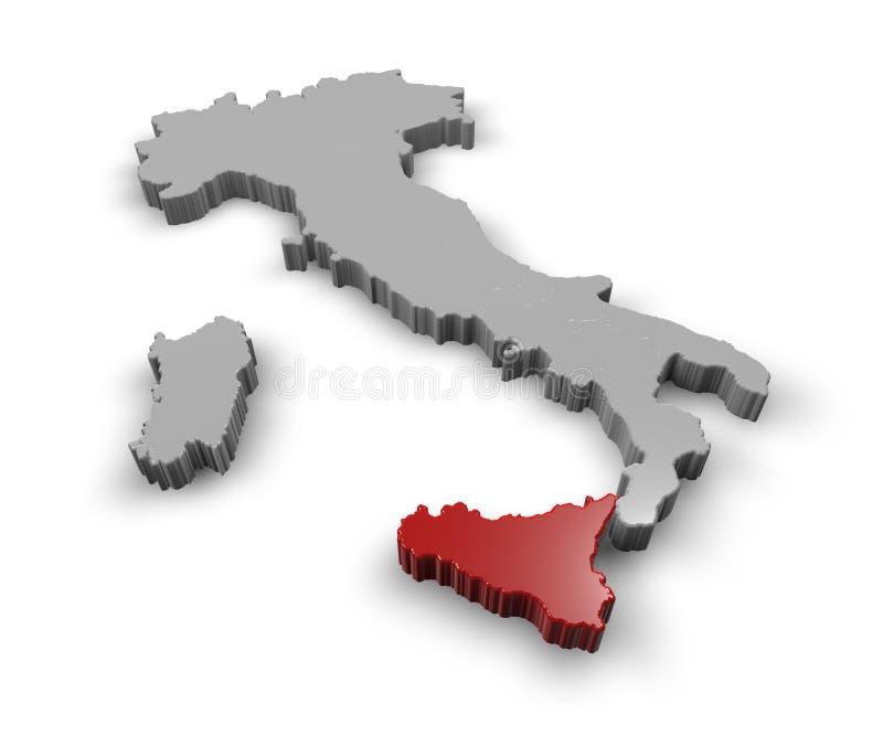 Mapa de Itália Sicília ilustração stock