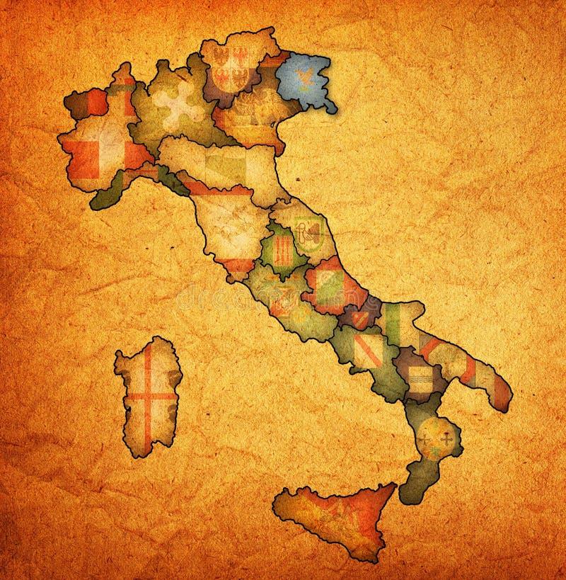 Mapa de Italia con la región del venezia ilustración del vector