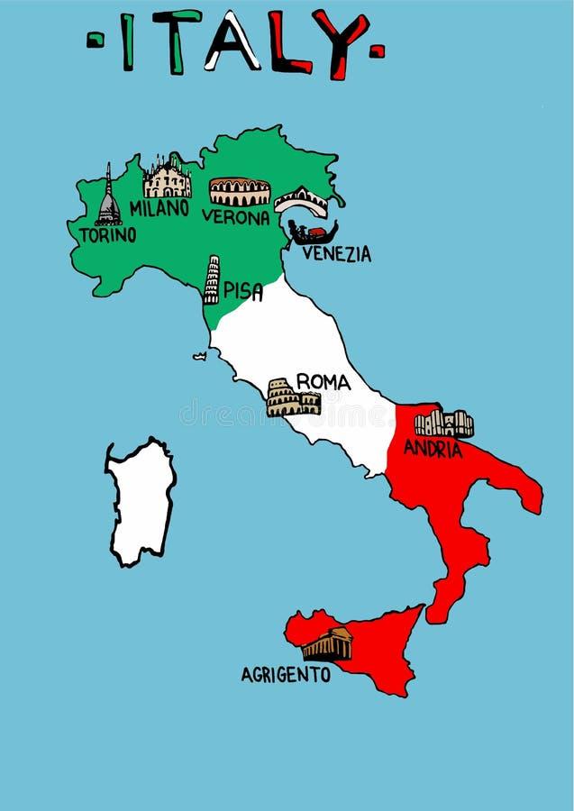 Mapa De Italia Con Los Monumentos Stock De Ilustración - Mapa de italia