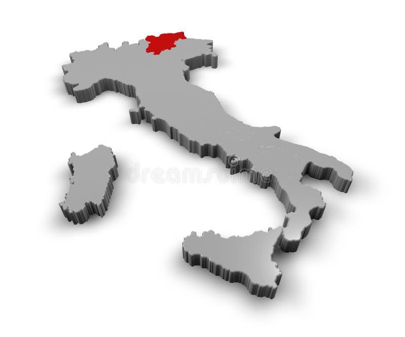 Mapa de Italia Trentino Alto Adige ilustración del vector