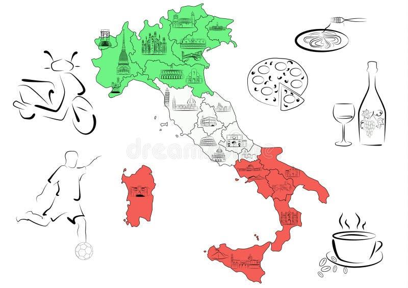Mapa de Italy com vistas por regiões ilustração do vetor