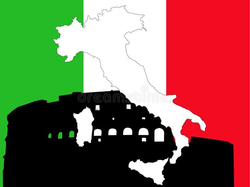 Mapa de Italy na bandeira italiana ilustração do vetor