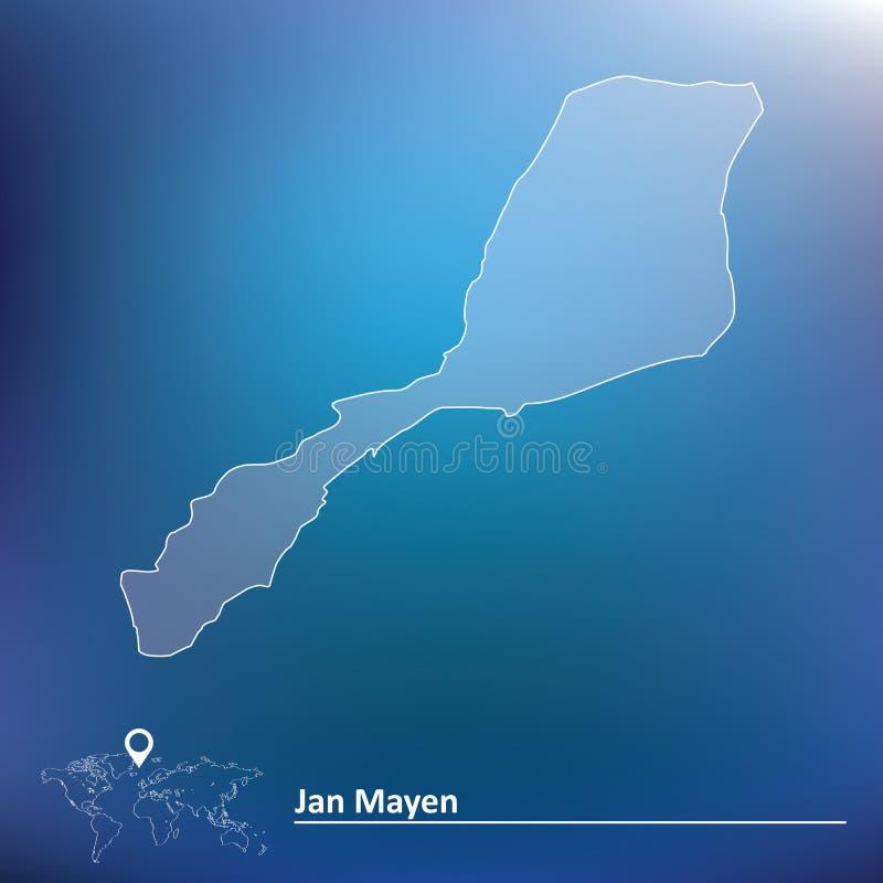 Mapa de Jan Mayen ilustração royalty free