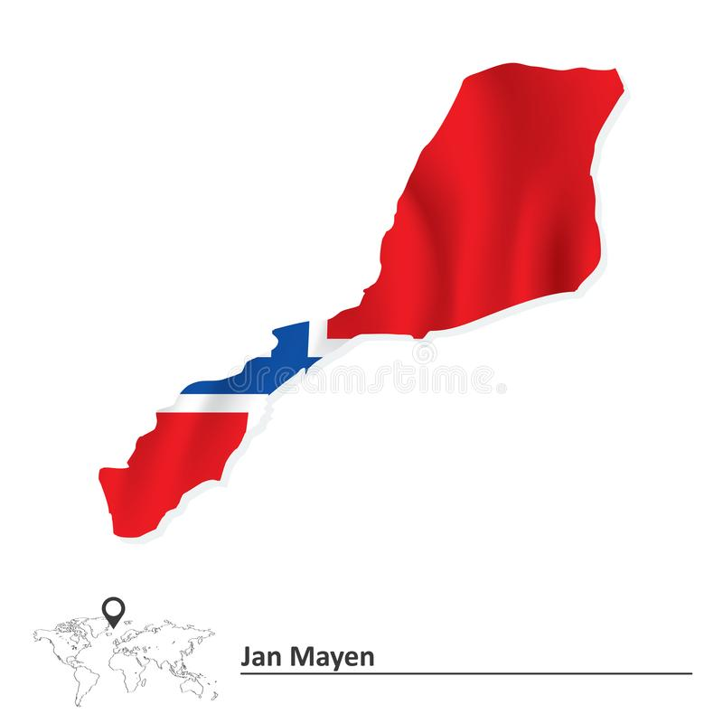 Mapa de Jan Mayen com bandeira ilustração stock