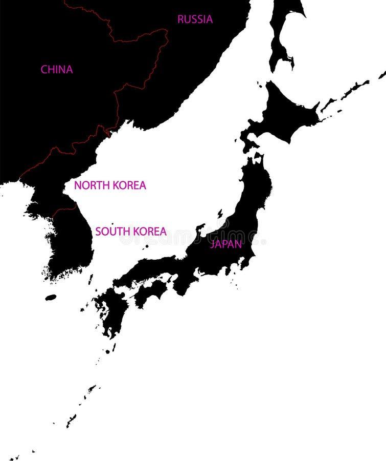 Mapa de Japão ilustração do vetor