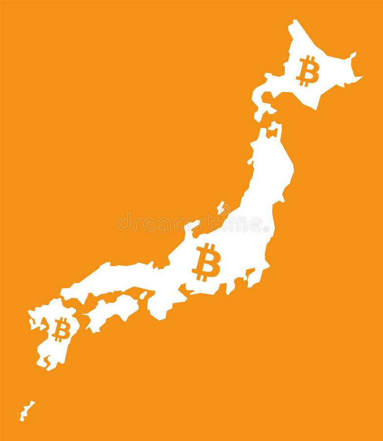 Mapa de Japón con el ejemplo crypto del símbolo de moneda del bitcoin ilustración del vector
