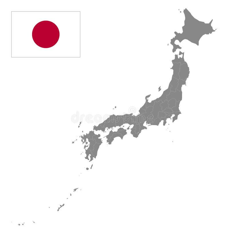 Mapa de Japón con las fronteras de las regiones Illustrat detallado del vector ilustración del vector