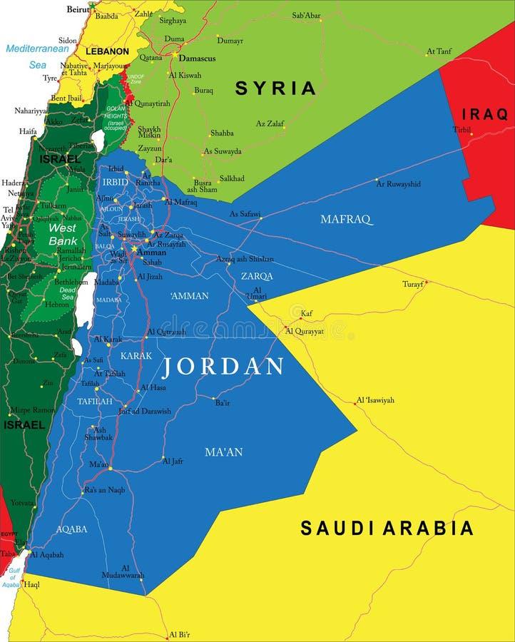 jordania mapa Mapa de Jordania ilustración del vector. Ilustración de  jordania mapa