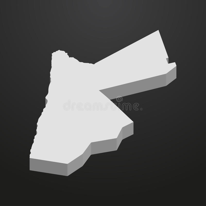 Mapa de Jordania en gris en un fondo negro 3d ilustración del vector