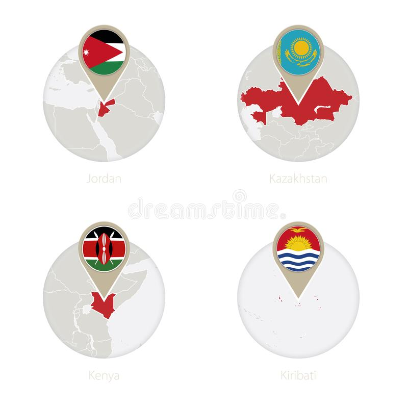 Mapa de Jordania, de Kazajistán, de Kenia, de Kiribati y bandera en círculo libre illustration