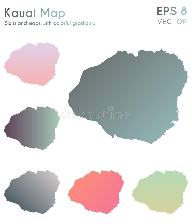 Mapa de Kauai con pendientes hermosas ilustración del vector