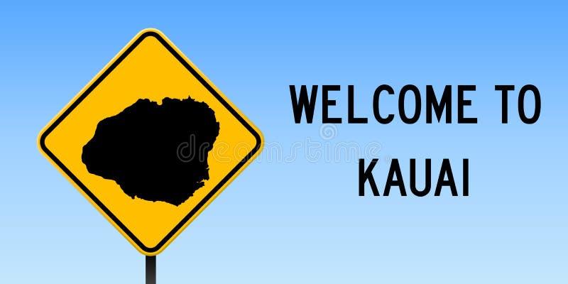 Mapa de Kauai en señal de tráfico stock de ilustración