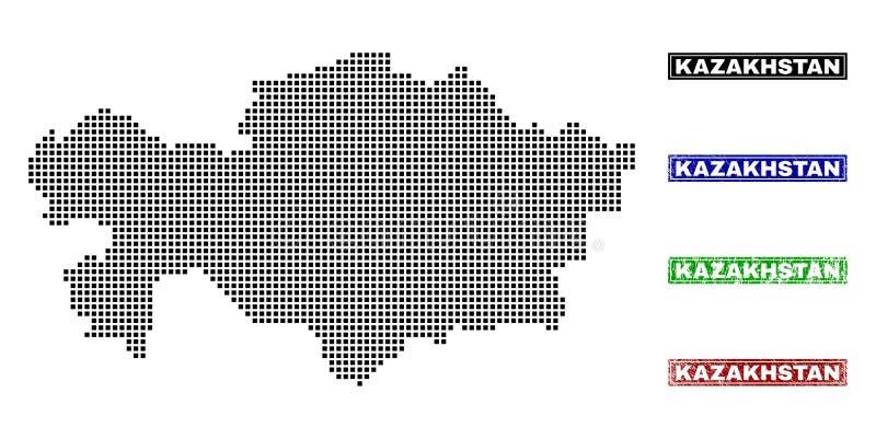 Mapa de Kazajistán en Dot Style con los sellos del título del Grunge stock de ilustración