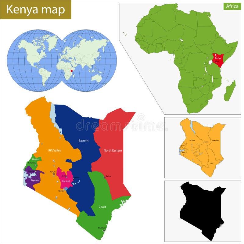 Mapa de Kenya ilustração royalty free
