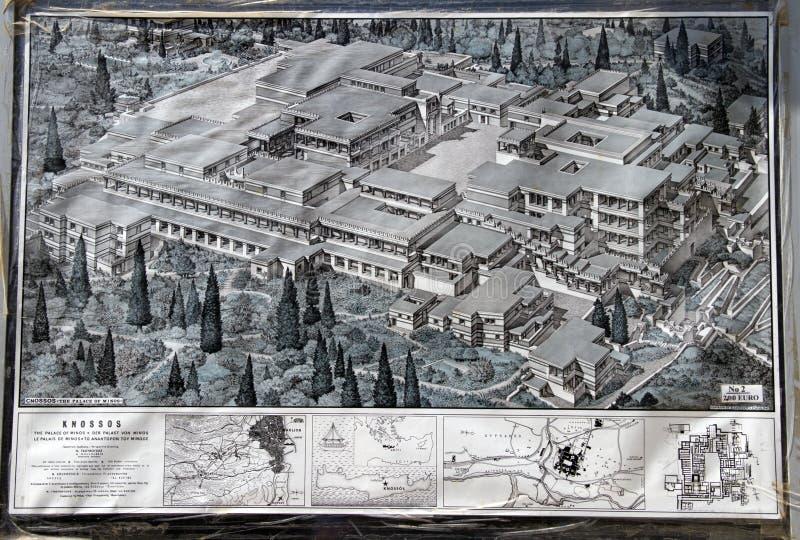 Mapa de Knossos fotografía de archivo libre de regalías