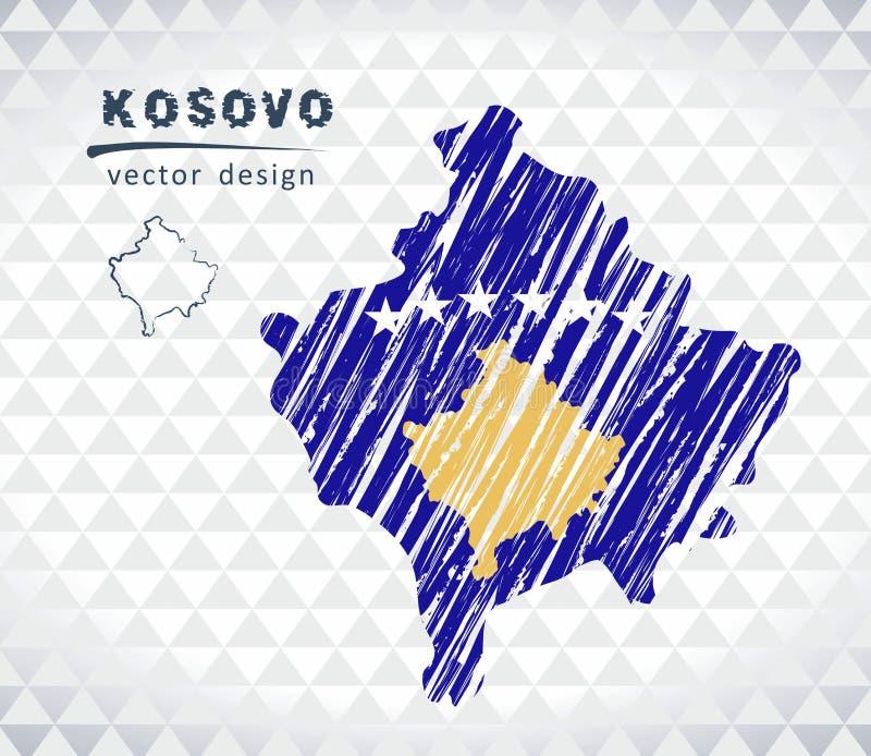 Mapa de Kosovo con el mapa de bosquejo dibujado mano dentro Ilustración del vector ilustración del vector
