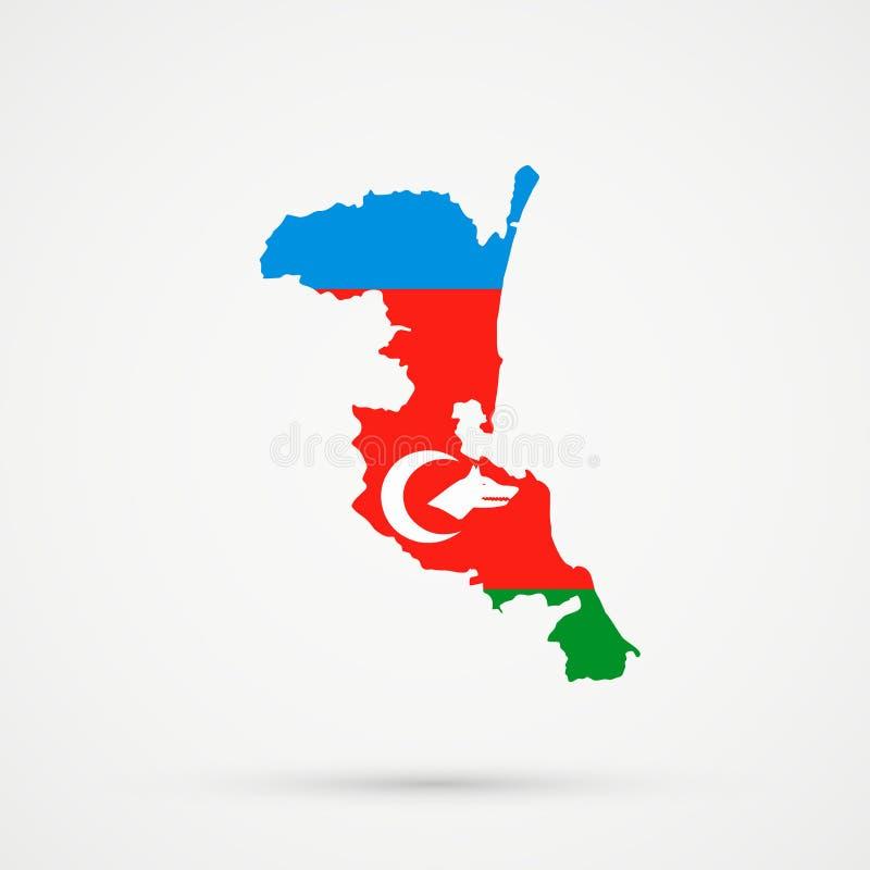 Mapa de Kumykia Daguestán en colores de la bandera de los grupos étnicos de Qarapapaqs o de Karapapaks, vector editable libre illustration