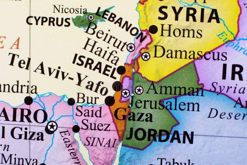 Mapa de Líbano, de Israel, del teléfono-Aviv-Yafo, de Gaza, y de Jordania imagen de archivo libre de regalías