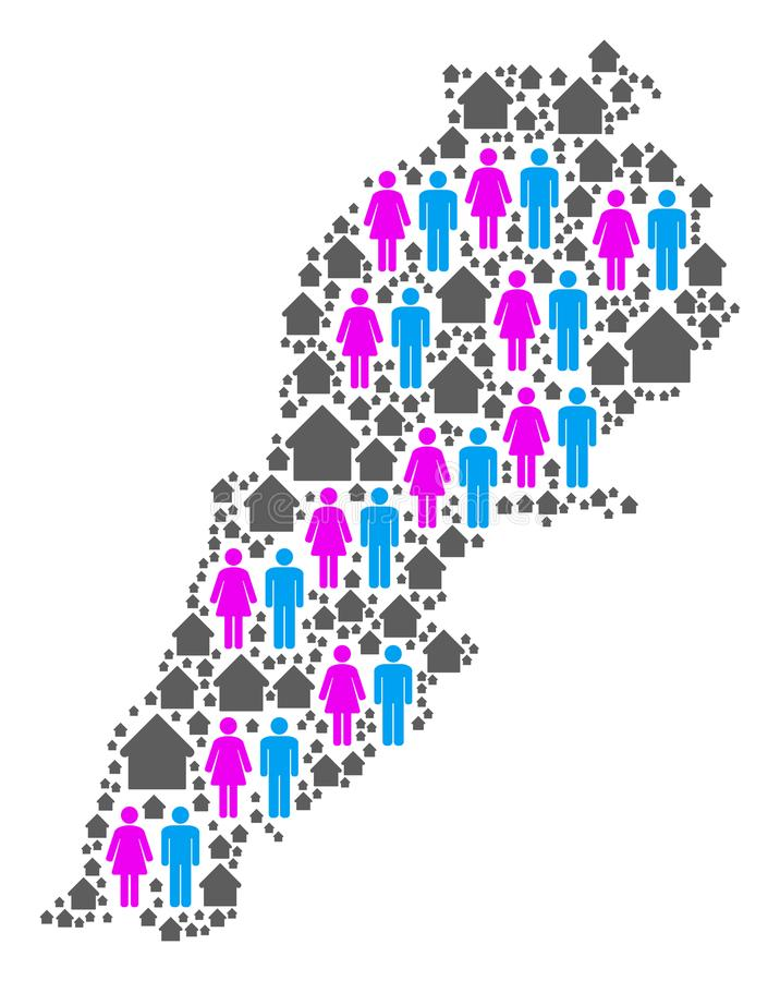 Mapa de Líbano de la población ilustración del vector