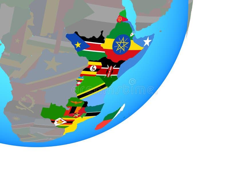 Mapa de la África del Este con la bandera en el globo stock de ilustración