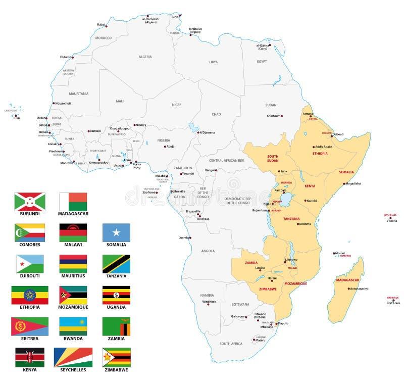 Mapa de la África del Este con las banderas ilustración del vector