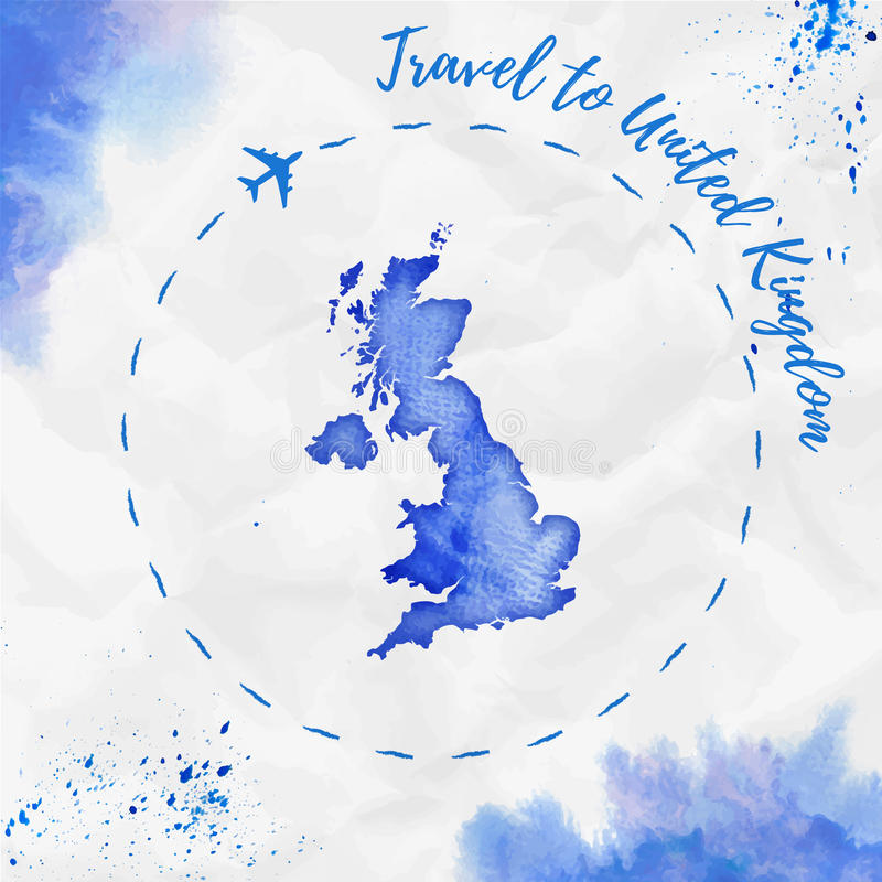 Mapa de la acuarela de Reino Unido en colores azules libre illustration
