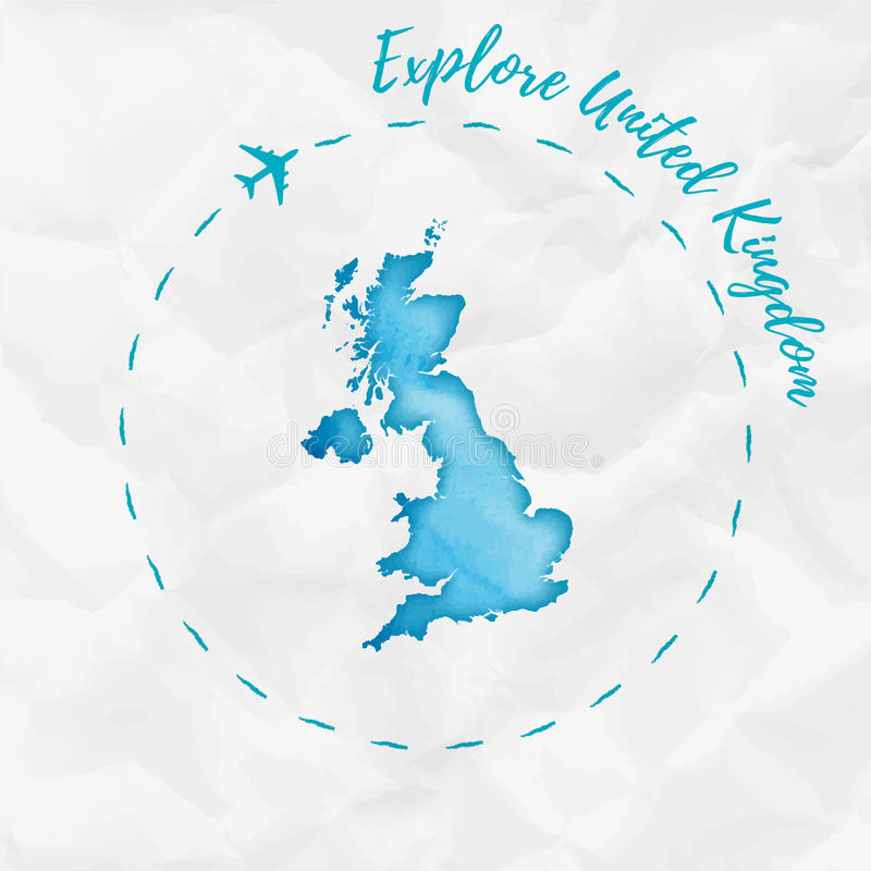 Mapa de la acuarela de Reino Unido en colores de la turquesa libre illustration