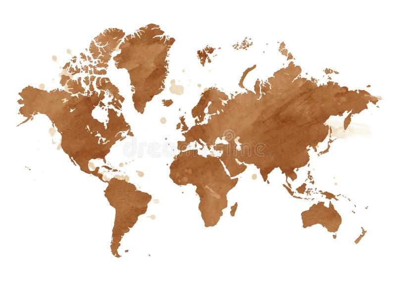 Mapa de la acuarela del vector del mundo con un fondo ilustración del vector