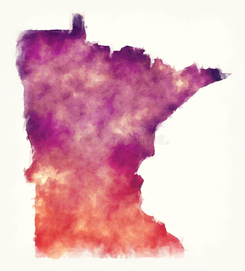 Mapa de la acuarela de los E.E.U.U. del estado de Minnesota delante de un backgroun blanco libre illustration