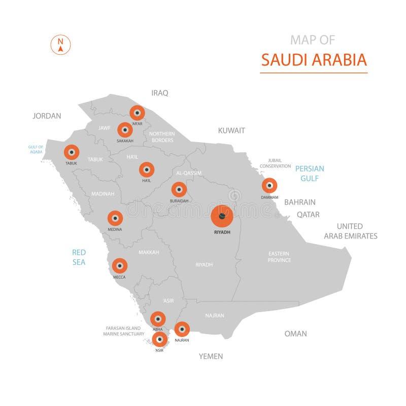 Mapa de la Arabia Saudita con divisiones administrativas ilustración del vector