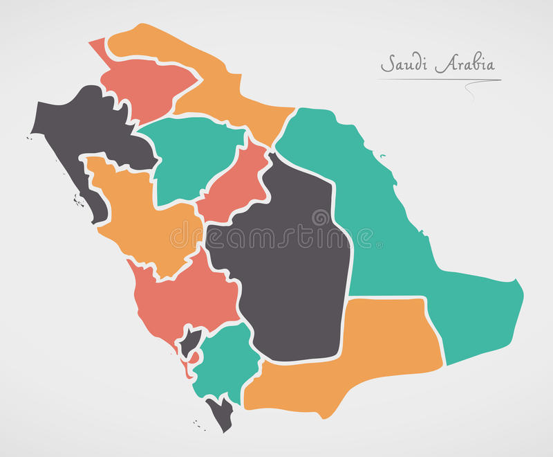 Mapa de la Arabia Saudita con los estados y las formas redondas modernas libre illustration