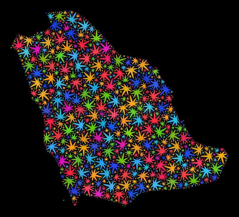 Mapa de la Arabia Saudita del mosaico de las hojas brillantes de la marijuana ilustración del vector