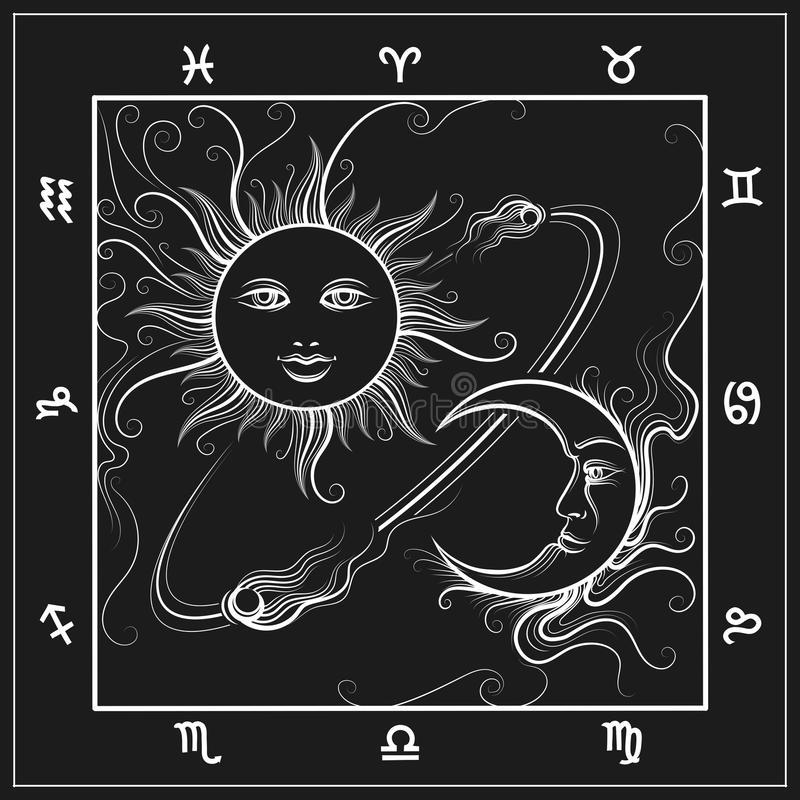 Mapa de la astrología con la luna y el sol ilustración del vector