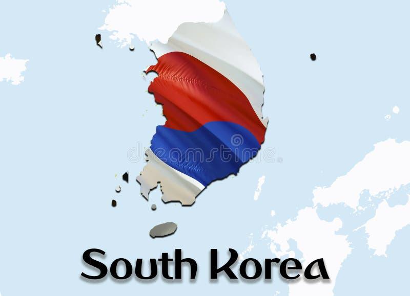 Mapa de la bandera de la Corea del Sur mapa y bandera de la Corea del Sur de la representación 3D en el mapa de Asia El símbolo n ilustración del vector