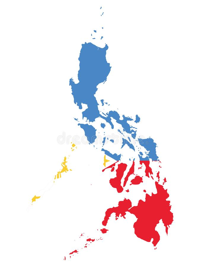 Mapa de la bandera de Filipinas stock de ilustración