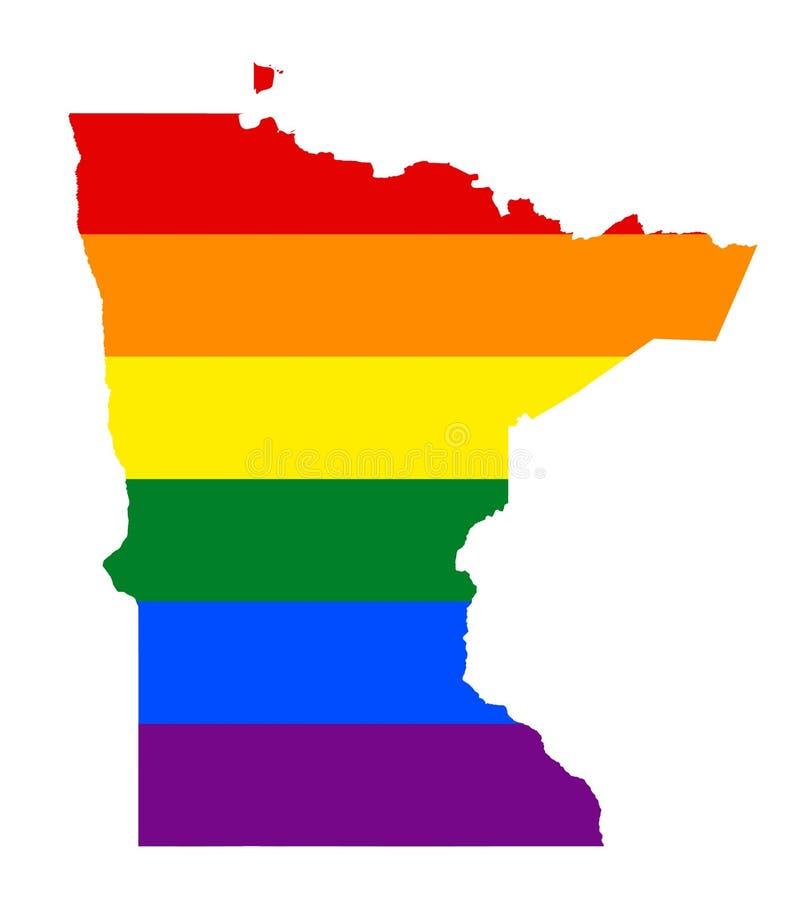 Mapa de la bandera de LGBT Mapa del arco iris del vector en colores de la bandera de lesbiana, homosexual, bisexual, y del transe stock de ilustración