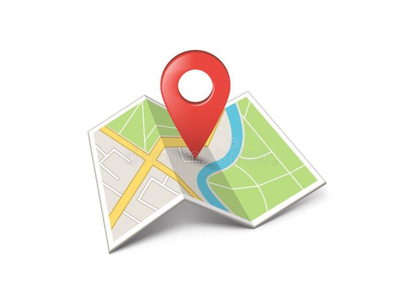 Mapa de la ciudad con el marcador fotografía de archivo libre de regalías