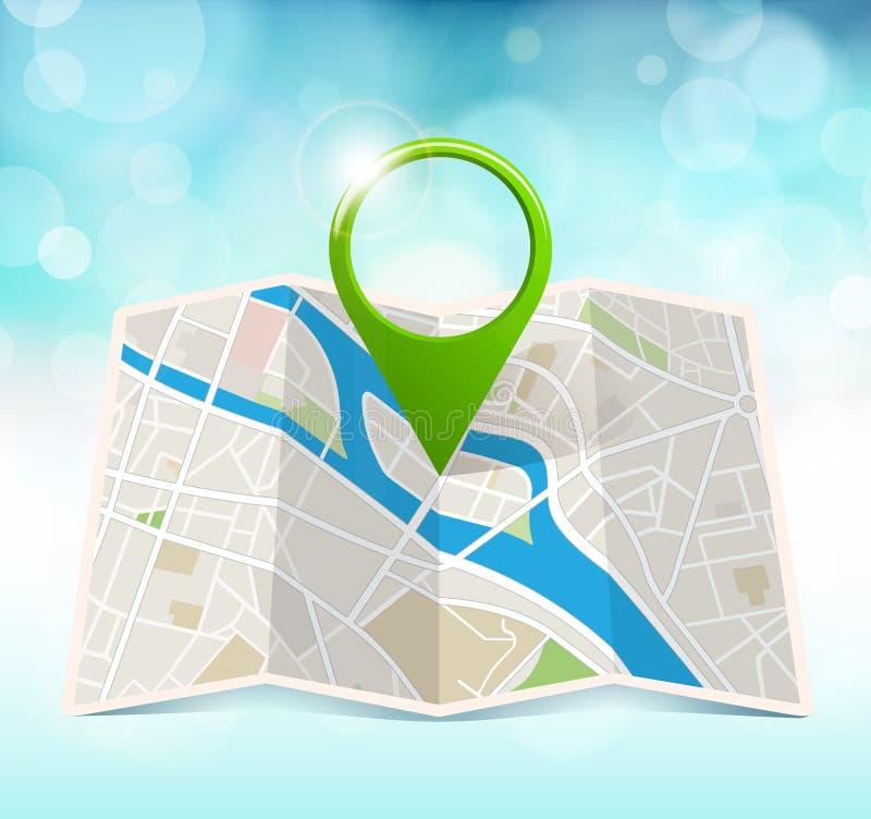 Mapa de la ciudad con el marcador imágenes de archivo libres de regalías