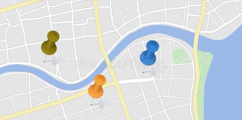 Mapa de la ciudad con los pernos ilustración del vector