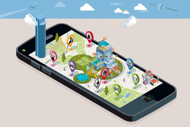 Mapa de la ciudad con pernos y una casa inteligente libre illustration