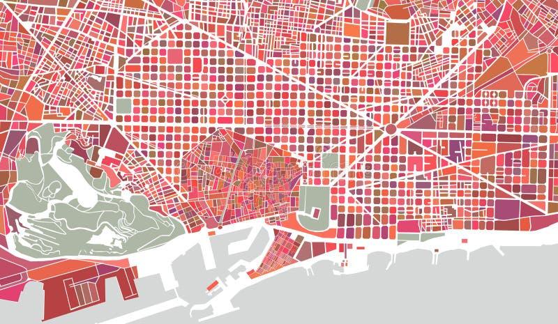 Mapa de la ciudad de Barcelona, España ilustración del vector