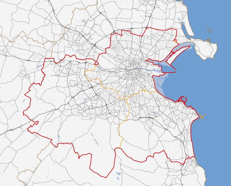 Mapa de la ciudad de Dublín fotografía de archivo libre de regalías